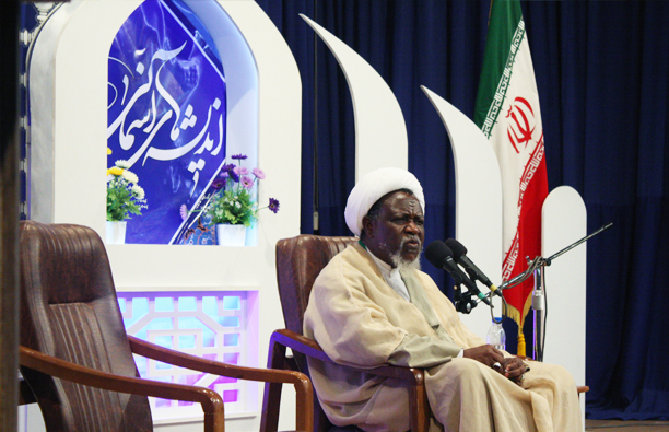 Sheikh Zakzaky is delivering speech in Mashhad, Iran
