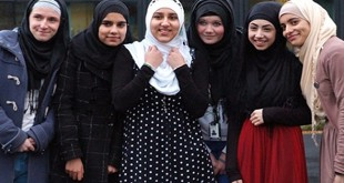 American High School girls wear hijab