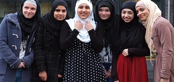 American High School girls wear hijab