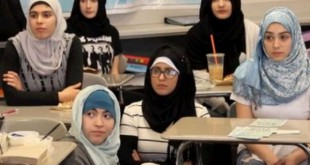 American high school girls join hijab wearing