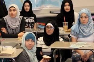 American high school girls join hijab wearing
