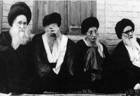 L-R; A.Sayyed Ali Tabrizi, A.Sayyed Mahmoud Shahroudi, A.Sayyed Muhsin Hakim and A.Sayyed AbulQasim Khuei(may their souls rest in peace)